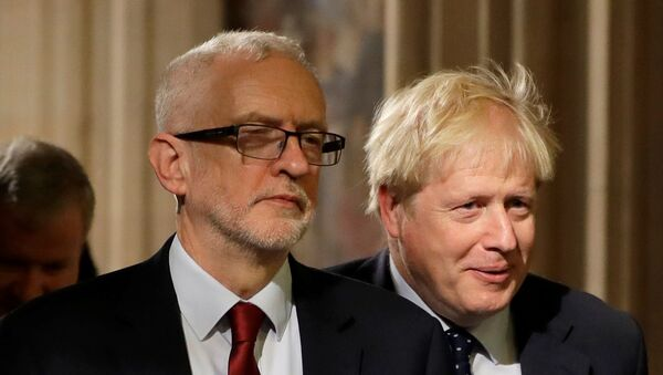 Britain's Prime Minister Boris Johnson and opposition Labour Party Leader Jeremy Corbyn walk through the Commons Members Lobby in Parliament, London, Britain, October 14, 2019. - Sputnik International