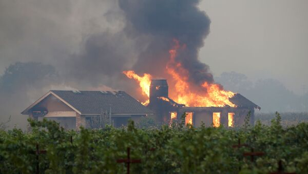 A burning structure is seen in the middle of a vineyard during the Kincade fire in Geyserville, California, U.S. October 24, 2019.  - Sputnik International