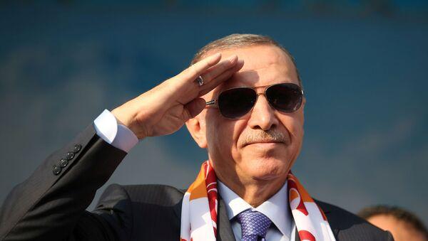 Turkish President Tayyip Erdogan salutes during a gathering in Kayseri, Turkey, October 19, 2019.  - Sputnik International