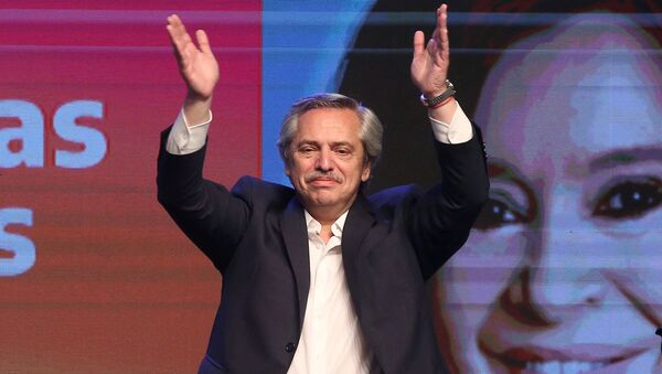 Presidential candidate Alberto Fernandez celebrates his victory after election results in Buenos Aires, Argentina 27 October, 2019. - Sputnik International