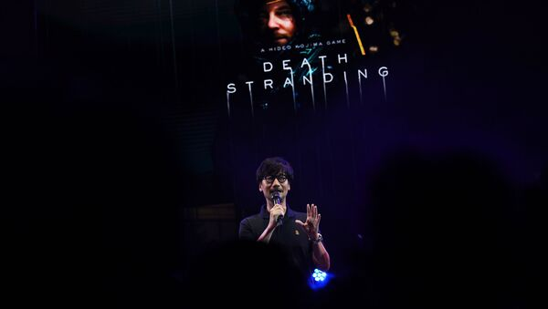 Japanese video game designer, writer, director and producer Hideo Kojima speaks on stage to present his new video game Death Stranding during the Tokyo Game Show in Makuhari, Chiba Prefecture on September 12, 2019. - Sputnik International