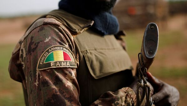 A Malian Armed Forces (FAMa) patch worn by a soldier is pictured during the Operation Barkhane in Ndaki, Mali, July 29, 2019. Picture taken July 29, 2019.  - Sputnik International