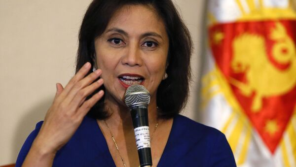 FILE - In this Dec. 5, 2016 file photo, Philippine Vice President Leni Robredo answers questions from the media during a news conference following her resignation from her cabinet post under President Rodrigo Duterte in suburban Quezon city, south of Manila, Philippines - Sputnik International