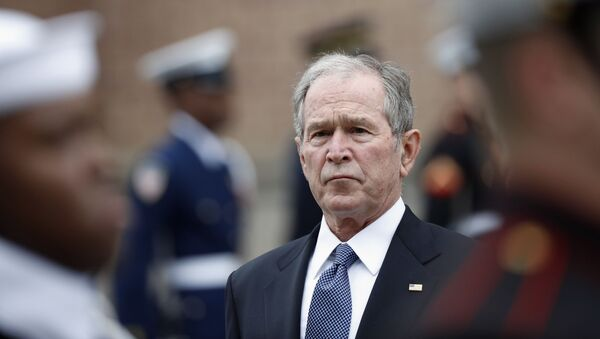 Former President George W. Bush leaves St. Martin's Episcopal Church in Houston after the funeral service for his father - Sputnik International