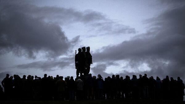 Serving servicemen and veterans gather at the Commando Memorial at Spean Bridge, for the annual Remembrance Sunday ceremony, near Fort William, in Scotland, Sunday, Nov. 10, 2019. - Sputnik International