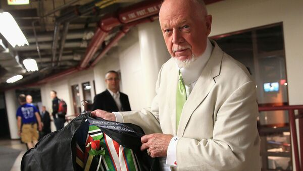 CHICAGO, IL - JUNE 22: Hockey analyst Don Cherry inspects the suit he plans to wear for Game Five of the 2013 NHL Stanley Cup Final between the Chicago Blackhawks and the Boston Bruins at United Center on June 22, 2013 in Chicago, Illinois - Sputnik International