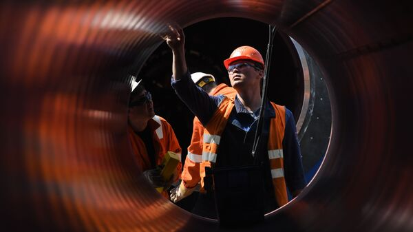 Employees work at the construction site of the Nord Stream 2 pipeline outside the town of Kingisepp, Leningrad region, Russia.  - Sputnik International