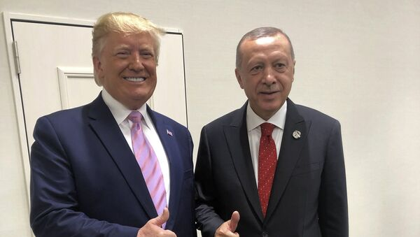 Turkey's President Recep Tayyip Erdogan, right, and U.S President Donald Trump gesture during the G-20 summit in Osaka, Japan, Friday, June 28, 2019 - Sputnik International