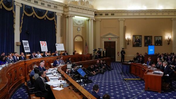 Ambassador Bill Taylor, charge d'affaires at the U.S. embassy in Ukraine; and George Kent, deputy assistant secretary of state for European and Eurasian Affairs, testify before a House Intelligence Committee hearing as part of the impeachment inquiry into U.S. President Trump on Capitol Hill in Washington, U.S., November 13, 2019 - Sputnik International