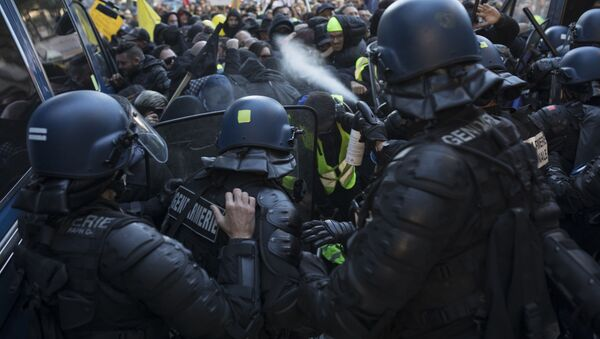 Police use pepper spray during a yellow vest demonstration marking the one year anniversary of the movement in Marseille, southern France, Saturday, 16 November, 2019.  - Sputnik International