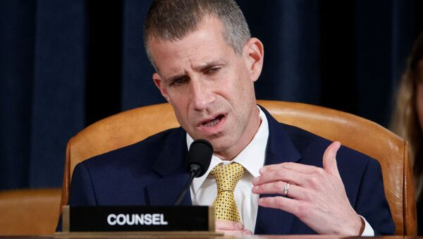 Republican legal counsel Steve Castor questions former U.S. Special Representative for Ukraine Kurt Volker and former Senior Director for Europe and Russia at the National Security Council Tim Morrison during the House Permanent Select Committee on Intelligence public hearing on the impeachment inquiry into U.S. President Donald Trump, on Capitol Hill in Washington, U.S. November 19, 2019.  - Sputnik International