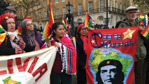 Protestors from numerous organisations hold banners and Whipala flags outside 10 Downing street to condemn the violence spreading across Bolivia following Evo Morales' asylum in Mexico - Sputnik International