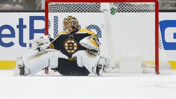 Nov 12, 2019; Boston, MA, USA; Boston Bruins goaltender Tuukka Rask (40) reacts after giving up the winning goal to Florida Panthers center Mike Hoffman (not pictured) during the shootout at TD Garden - Sputnik International