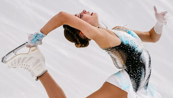 Alena Kostornaia performing during ladies short programme in Finlandia trophy 2019 - Sputnik International