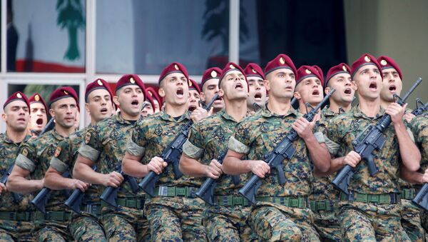 Lebanese soldiers take part in a military parade to mark the 76th anniversary of Lebanon's independence at the Ministry of Defense in Yarze, Lebanon November 22, 2019. - Sputnik International