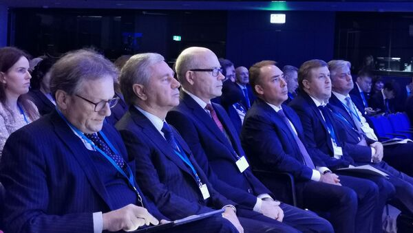Russian Trade Representative to the UK, Dr Boris Abramov, is pictured next to high-ranking officials at the Russian-British Business Forum in London on 27 November 2019 - Sputnik International