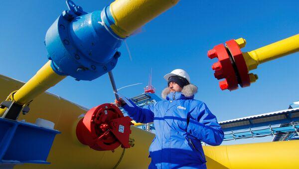 An employee checks a gas valve at the Atamanskaya compressor station, part of Gazprom's Power Of Siberia gas pipeline outside the far eastern town of Svobodny, in Amur region, Russia November 29, 2019 - Sputnik International
