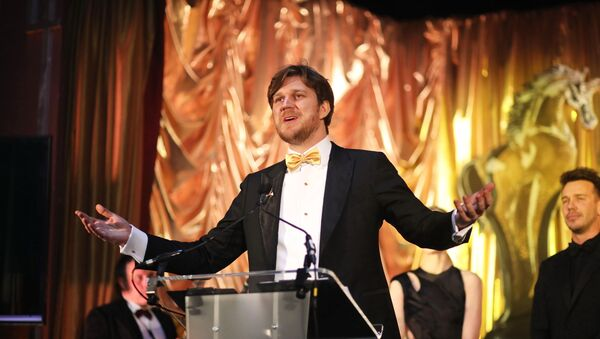 Russian Film Week and Golden Unicorn Awards founder and general producer, Filip Perkon, opens the ceremony with a speech at the Sheraton Grand Park Lane in London on 30 November - Sputnik International