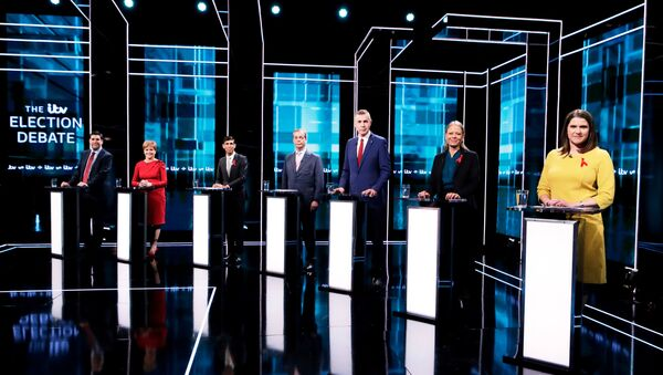 Labour Party's Richard Bergen, SNP leader and Scottish First Minister Nicola Sturgeon, Conservatives' Chief Secretary to the Treasury Rishi Sunak, Brexit Party leader Nigel Farage, Plaid Cymru leader Adam Price, Green Party Co-Leader Sian Berry and British Liberal Democrat leader Jo Swinson attend an election debate in London, Britain December 1, 2019 - Sputnik International
