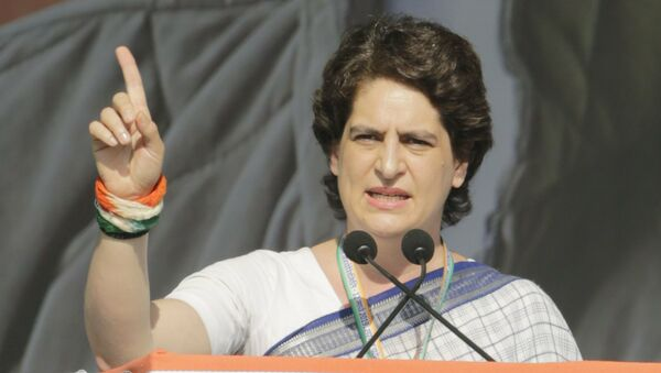 India's main opposition Congress party General Secretary Priyanka Gandhi Vadra speaks during a public meeting at Adalaj in Gandhinagar, India, Tuesday, March 12, 2019 - Sputnik International