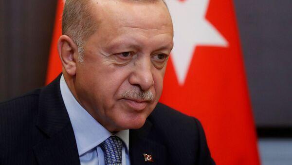 FILE PHOTO: Turkish President Recep Tayyip Erdogan attends a meeting with Russian President Vladimir Putin in the Black sea resort of Sochi, Russia, 22 October 2019 - Sputnik International