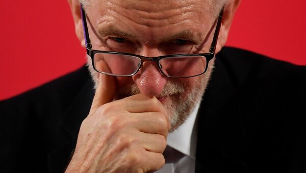 Britain's opposition Labour Party leader Jeremy Corbyn looks on during a general election campaign event in London, Britain November 27, 2019 - Sputnik International
