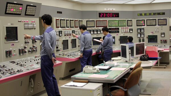 This handout picture taken by Kasai Electric Power Co. (KEPCO) on September 15, 2013 shows KEPCO engineers shutting down its nuclear reactor at the company's Oi nuclear power plant in Oi, Fukui prefecture, western Japan - Sputnik International