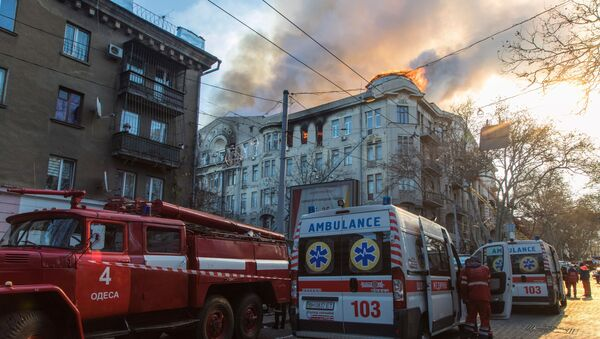 Firefighters near a college building in central Odessa - Sputnik International