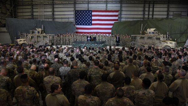 US President Donald Trump speaks to the troops at Bagram Air Field in Afghanistan - Sputnik International