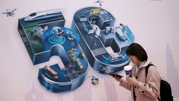 A sign for 5G is seen at the World 5G Exhibition in Beijing, China November 22, 2019 - Sputnik International