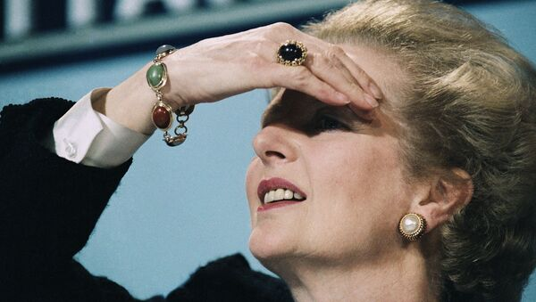 Britain's Prime Minister Margaret Thatcher peers out over her audience during a press conference on 10 June 1987 in central London. - Sputnik International
