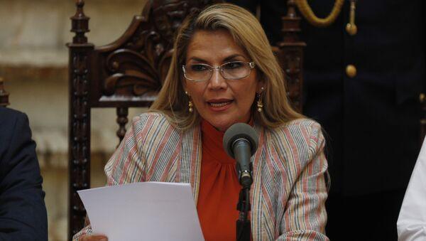 Bolivia's interim President Jeanine Anez  at the presidential palace, in La Paz, Bolivia - Sputnik International
