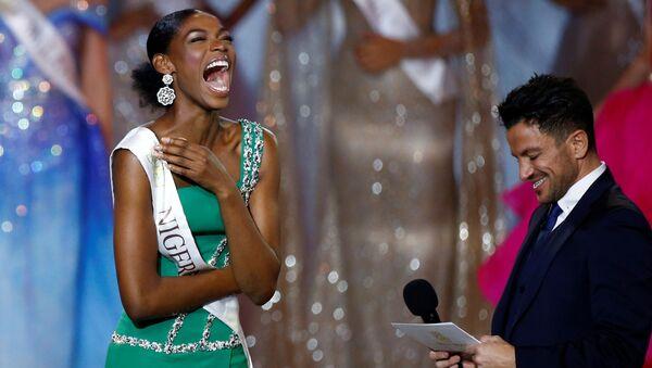 Nyekachi Douglas of Nigeria reacts on stage during the Miss World final in London - Sputnik International