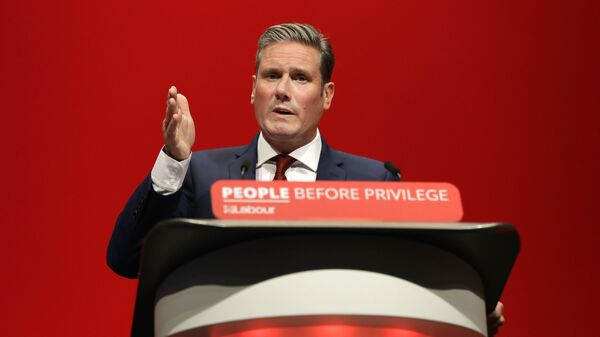 FILE - In this Monday, Sept. 23, 2019 file photo, Britain's Shadow Brexit Secretary Keir Starmer speaks on stage during the Labour Party Conference at the Brighton Centre in Brighton, England - Sputnik International