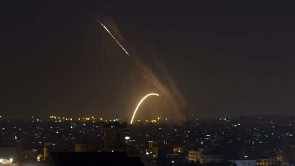 Rockets are launched from the Gaza Strip towards Israel, Wednesday, Nov. 13, 2019 - Sputnik International