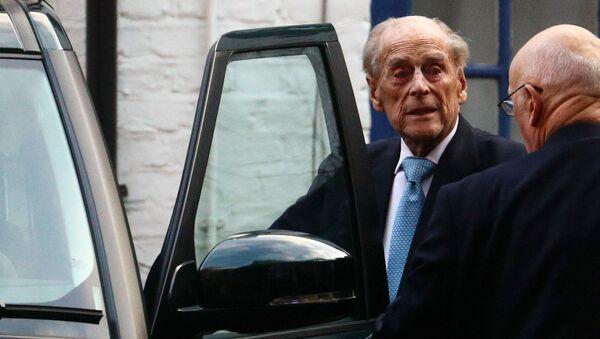 Britain's Prince Philip enters a car as he leaves the King Edward VII's Hospital in London, Britain December 24, 2019 - Sputnik International