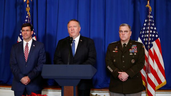 U.S. Secretary of State Mike Pompeo speaks about airstrikes by the U.S. military in Iraq and Syria, at the Mar-a-Lago resort in Palm Beach, Florida, U.S., December 29, 2019 - Sputnik International