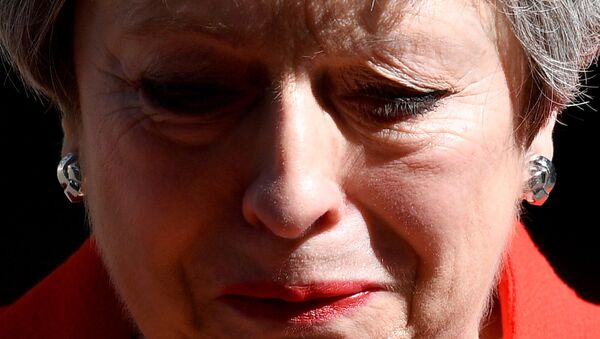 British Prime Minister Theresa May reacts as she delivers a statement in London, Britain, May 24, 2019 - Sputnik International