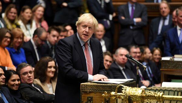 Britain's Prime Minister Boris Johnson speaks during a lawmakers meeting to elect a speaker, in London, 17 December 2019.  - Sputnik International