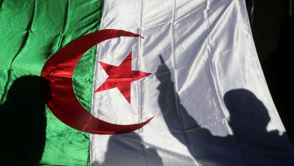 A demonstrator's shadow is cast on a national flag during an anti-government rally in Algiers, Algeria December 24, 2019.  - Sputnik International