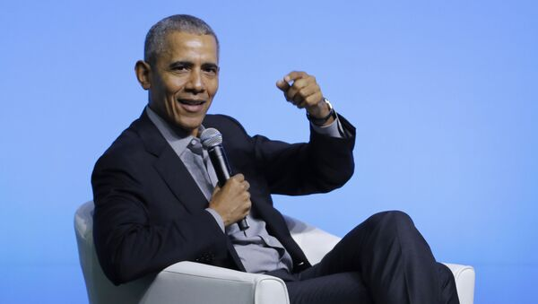 Former US President Barack Obama gesture as he attends the values-based leadership during a plenary session of the Gathering of Rising Leaders in the Asia Pacific, organised by the Obama Foundation in Kuala Lumpur, Malaysia, Friday, Dec. 13, 2019. - Sputnik International