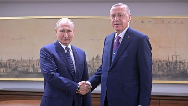 Russian President Vladimir Putin Holds One-on-One Metting With Turkish Counterpart Recep Erdogan - Sputnik International