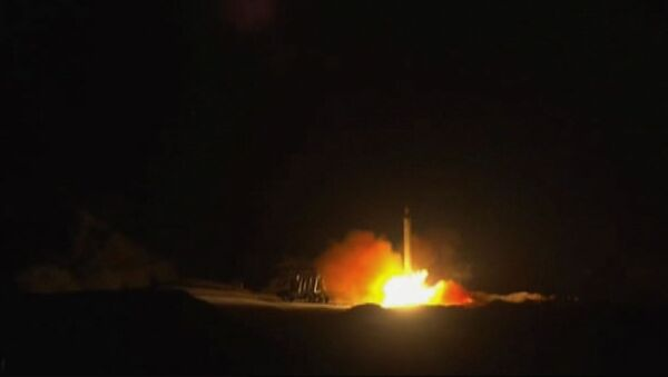 An image grab from footage obtained from the state-run Iran Press news agency on January 8, 2020 allegedly shows rockets launched from the Islamic republic against the US military base in Ein-al Asad in Iraq the prevous night - Sputnik International