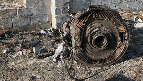EDITORS NOTE: Graphic content / An engine lies on the ground after a Ukrainian plane carrying 176 passengers crashed near Imam Khomeini airport in the Iranian capital Tehran early in the morning on January 8, 2020, killing everyone on board - Sputnik International