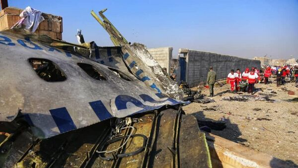 In this handout photo released by Iranian Red Crescent Society (IRCS), people work at the site of the Ukraine International Airlines' Boeing 737-800 passenger plane crash in the vicinity of the town of Parand, outside Tehran, Iran - Sputnik International