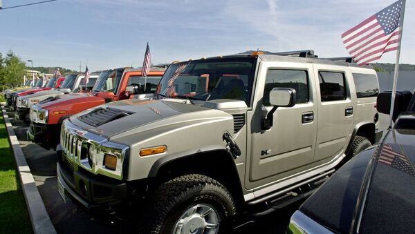A line of Hummer vehicles for sale at a Hummer dealership in Los Gatos, Calif., Wednesday, March 31, 2004. Dealers say Hummers averages 8 to 10 miles per gallon. Crude oil prices recently reached a 14-year high, and gasoline prices are expected to average a record $1.83 this spring. The private Lundberg Survey put gas prices nationally this week at $1.80 a gallon and more than $2 a gallon in some areas. With fuel costs already at uncomfortable levels for consumers, OPEC took a step that could push prices even higher by announcing Wednesday that it would cut its crude oil production target by 4 percent. - Sputnik International
