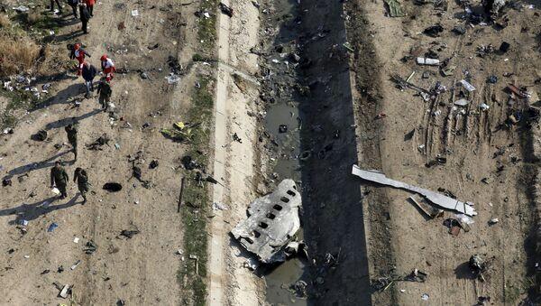 Rescue workers search the scene where a Ukrainian plane crashed in Shahedshahr, southwest of the capital Tehran, Iran - Sputnik International