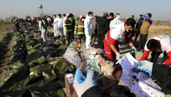 A rescue worker shows pictures of a girl recovered from a Ukrainian plane crash site in Shahedshahr, southwest of the capital Tehran, Iran - Sputnik International