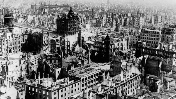 Undated file photo shows the demolished city of Dresden after the fatal allied forces' air raids on 13 and 14 February 1945. - Sputnik International