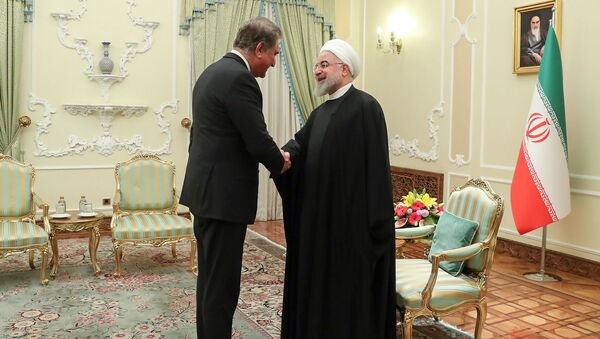 A handout picture provided by the official website of the Iranian Presidency shows Pakistan's Foreign Minister Shah Mahmood Qureshi (L) meeting with Iranian President Hassan Rouhani in Tehran on January 12, 2020 - Sputnik International